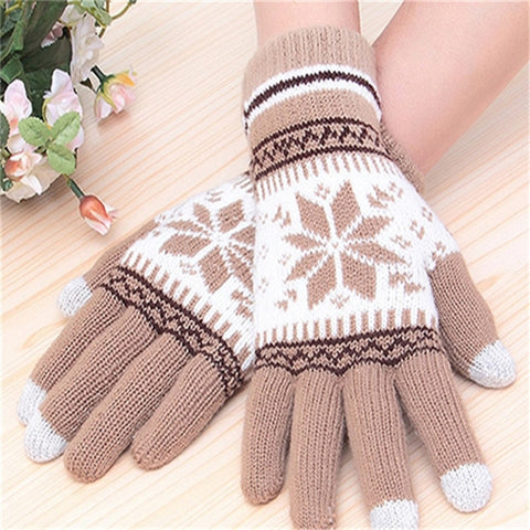Fashion Winter Women Gloves  Snowflake gloves Touchscreen gloves warm winter knitted Gloves 7394
