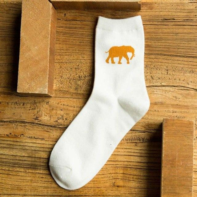 New High Quality Novelty Fashion Cool Men Socks Animal Pattern Creative Socks 100% Cotton Happy Socks Men's Sock-modlily