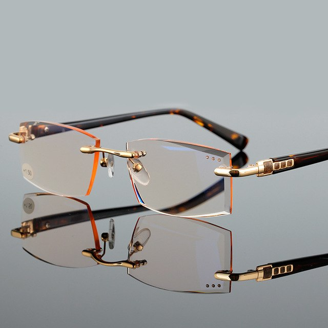 ELECCION High Quality Reader Eyewear Fashion Style Rimless Reading Glasses For Men and Women Magnifier Glasses Transparent Glass-modlily
