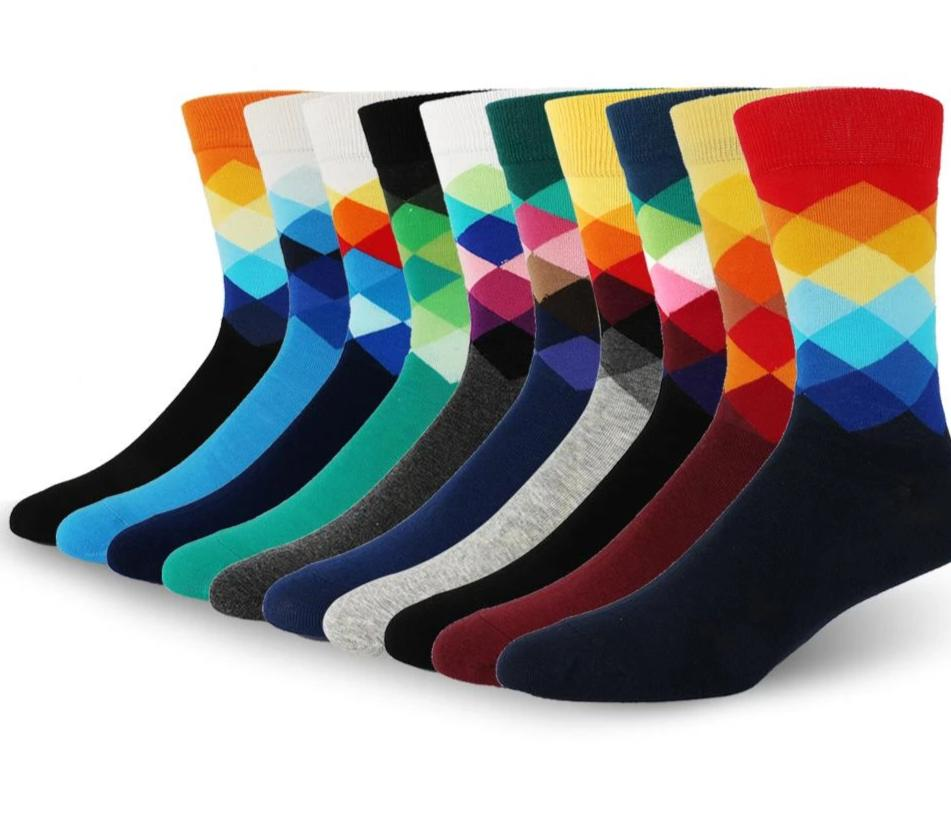 LeFifino Fashion Men's Funny Colorful Combed Cotton Socks Male Geometry Argyle Socks Dress Happy Wedding Clothes Socks Le02017-modlily