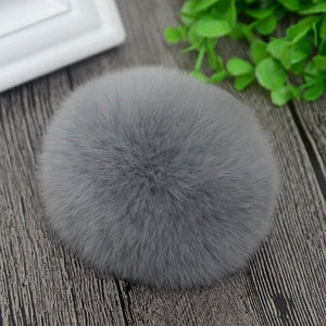 8cm Nature Genuine Rex Rabbit Fur Ball Pom Pom Fluffy DIY Winter Hat Skullies Beanies Knitted Cap Pompoms F001-grey-modlily