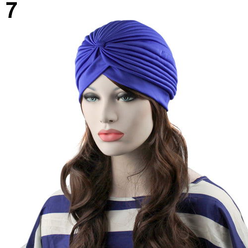 Fashion Women Indian Style Stretchable Pleated Turban Hat Cap Head Wrap Bandana-modlily