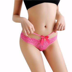 2018 Women G String Sexy Underwear Lace Briefs Panties Breathable Seamless Transparent Super Thin Hollow Bowknot Thongs Lingerie-modlily