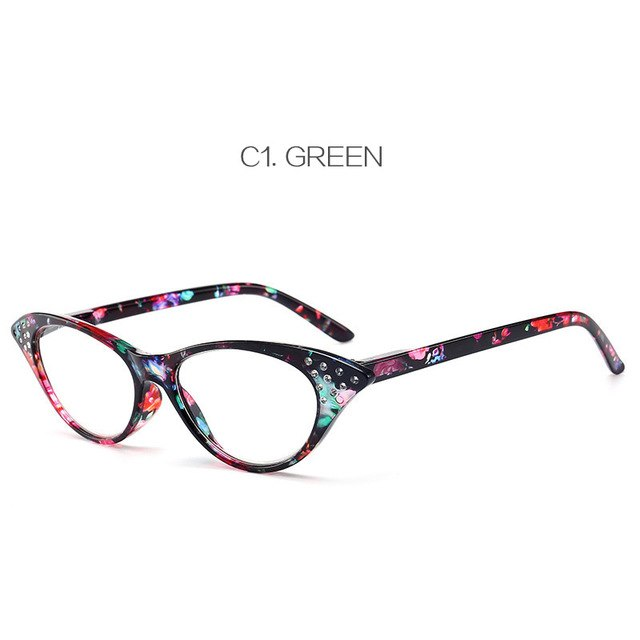 UVLAIK Cat Eye Reading Glasses Women Diamond Eyeglasses Presbyopic with Diopter 1.0 1.5 2.0 2.5 3.0 3.5 4.0-modlily