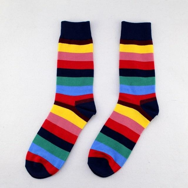 [COSPLACOOL]Colorful Stripe Happy Skateboard Business Socks Men In Tube High Quality Meias Fashion Cotton Absorbent Unisex Sox-modlily