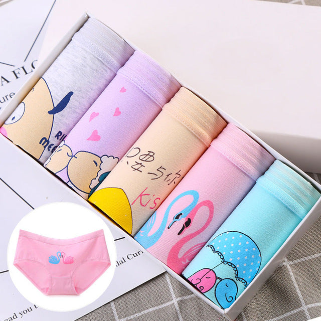 LANGSHA 5PCS/lot Women Panties Sexy Cotton Underwear Girls Cute Printed Intimate Plus Size Briefs Lady Breathable Underpants2928-modlily
