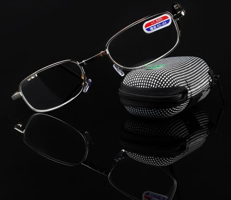 Foldable Clear Men Women Reading Glasses zipper Case with Belt Clip Presbyopic Unisex Eyewear +1.0+1.5+2.0+2.5+3.0+3.5 +4.0-modlily