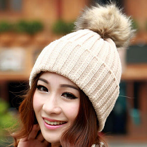 Winter Hats for Women Brand 2017 Beanies Knitted Cap Crochet Hat Rabbit Fur Pompons Ear Protect Casual Cap Fashion Ladies Beanie-modlily