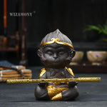WIZAMONY Chinese Purple Clay Kung Fu tea Set Tea Pet Monkey King Tea Accessories for puer Oolong Tea Home Deco-modlily