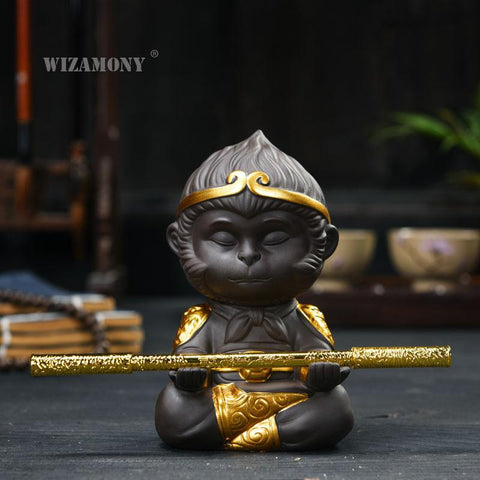 WIZAMONY Chinese Purple Clay Kung Fu tea Set Tea Pet  Monkey King Tea Accessories for puer Oolong Tea Home Deco