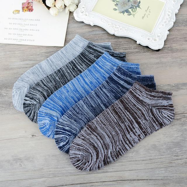 10 Pairs /lot Mens Summer Socks Vintage 5 Colors Stripes Pattern Breathable Sweat Casual Breathable Comfortable Supply Boat Sock-modlily