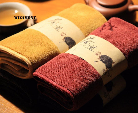 WIZAMONY Low Price Superfine fiber tea towels Tea Set absorbent strong kung fu high-grade tea cloth tools Tea Napkins-modlily