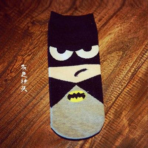 36-43 Summer Men Harajuku Socks Hip Hop Ninja Batman Superman SpiderMan Captain America Avengers Short Novelty Sokken MS0123-modlily
