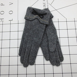Fashion Elegant Female Wool Touch Screen Gloves Winter Women Warm Cashmere Full Finger Leather Bow Dotted embroidery Gloves A29-modlily