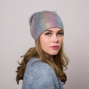 IOTTG 2017 New Winter Hats For Women Colorful Wool Knitted Hat Fashion Brand Cap Casual Warm Hat Female Skullies Beanies Bonnet-modlily