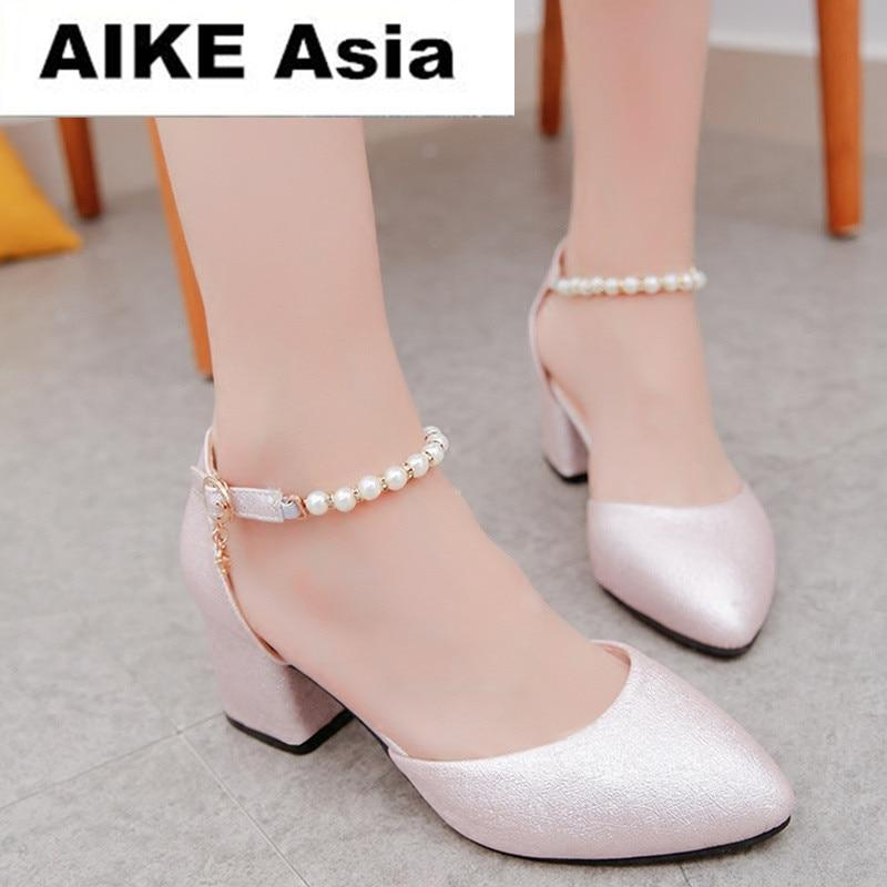 2018 Women Shoes Pointed Toe Pumps Dress Shoes High Heels Boat Shoes Wedding Shoes tenis feminino String Bead Side with #163-modlily