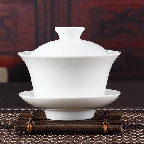 [GRANDNESS] Chinese Gaiwan Tea Set Kung Fu White Ceramic Gaiwan White Teaware Sancai Tea Cup For Pu erh White Tea Silver Needle-modlily