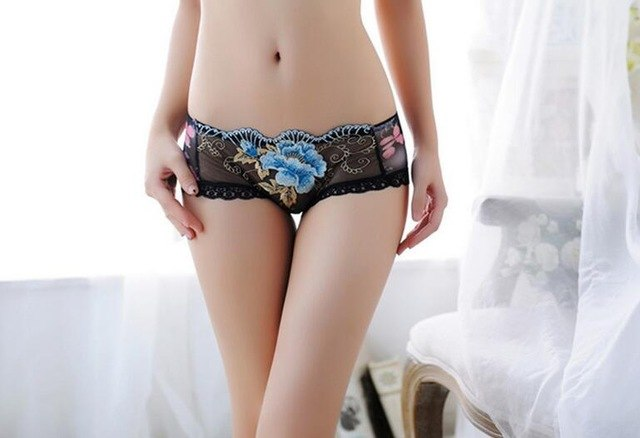 2018 New Arrival Sale Floral Ladies Underwear Woman Transparent Panties Fancy For Women Low-rise Flowers Embroidery Briefs A101-modlily