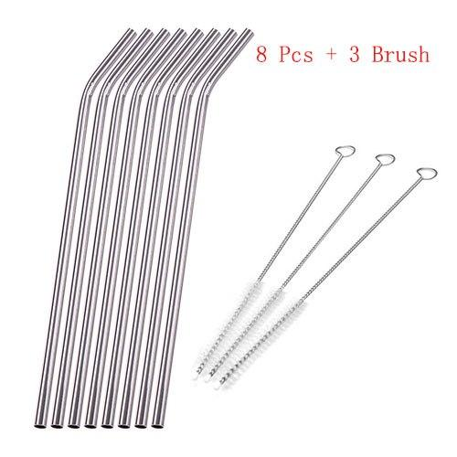 11pcs/set Stainless Steel Metal Drinking Straw Reusable Eco-friendly Straws Drinking Kitchen Supplies with 3 Cleaner Brush Kit-modlily
