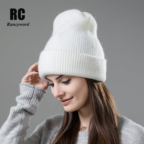 [Rancyword] Hot Selling Winter Skullies Thicker Warm Hat For Women Wool Knitted Hat Beanies Cap Solid Color Sets Headgear RC1232