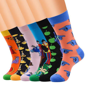 PEONFLY 6 pair/lot style Cool Men Novelty funny socks Interesting pattern combed cotton Colorful Happy socks big size crew socks-modlily