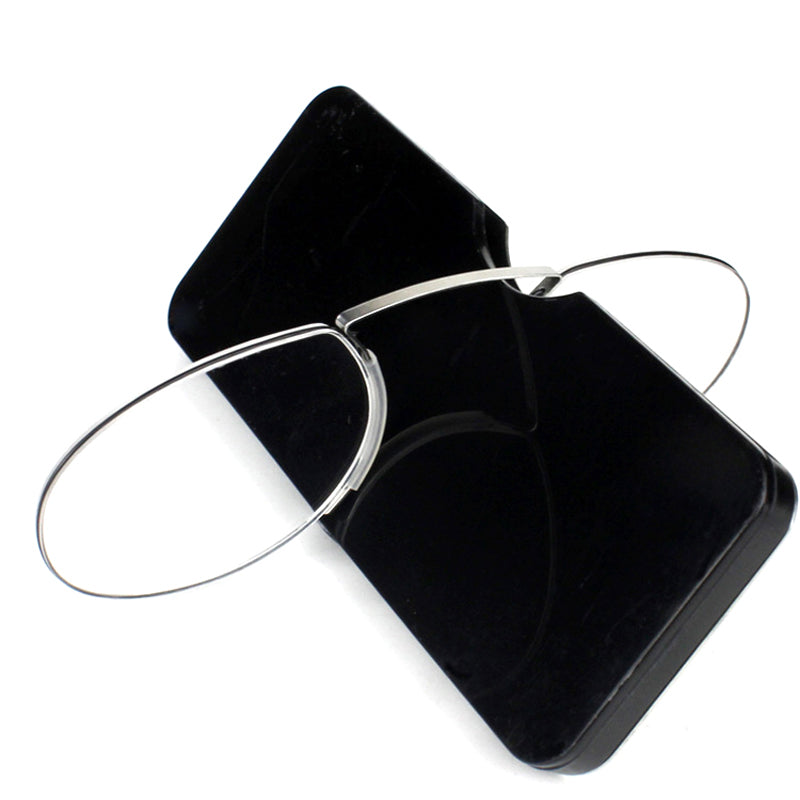 Pince-nez Reading Glasses 1.0 to 3.5 Portable Wallet Reader with Case nose clip on Mini reading glasses with case-modlily