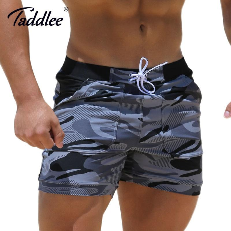Taddlee Brand Sexy Men's Swimwear Swimsuits Man Plus Big Size XXL Camouflage Spandex Beach Long Board Shorts Boxer High Rise Cut-modlily