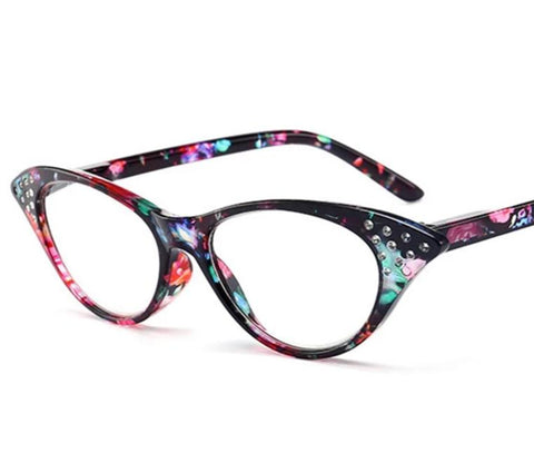 YOOSKE Rhinestone Reading Glasses Women Cat Eye Eyeglasses Ladies Glasses for Reader Vintage Spectacles