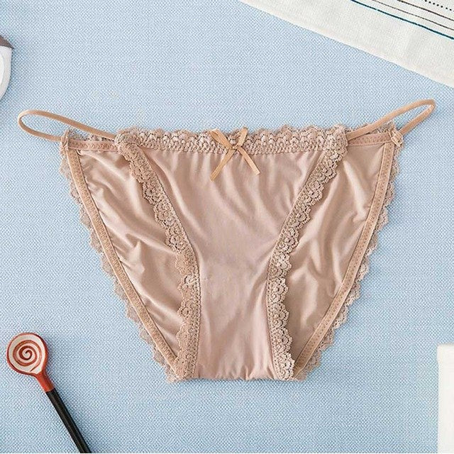 HUI GUAN Japan Style Lace Ice Silk Panties Sex Thong Soft Fashion Crotch Cotton Breifs Lingerie Women Sexy Cute Girl Underwear-modlily