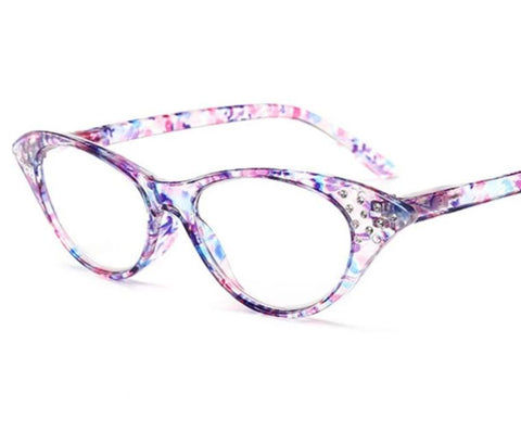 YOOSKE Fashion Cat Eye Reading Glasses Women Retro Diamond Glasses for Reader 1.0 1.5 2.0 2.5 3.0 3.5 4.0 Diopter