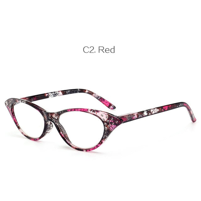YOOSKE Fashion Cat Eye Reading Glasses Women Retro Diamond Glasses for Reader 1.0 1.5 2.0 2.5 3.0 3.5 4.0 Diopter-modlily