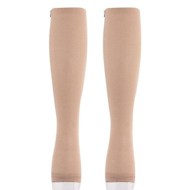 Antifatigue Compression Stockings 2018 Travel Stockings Miracle Socks Soothe Achy Unisex Knee Socks Supports Open Toe Zipper-modlily