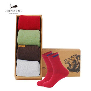 Thick Wool Socks Men Business Casual Calcetines Invierno Meias Homens Cloth Sign Contracted Design LIONZONE Brand 1Lot=4PCS-modlily