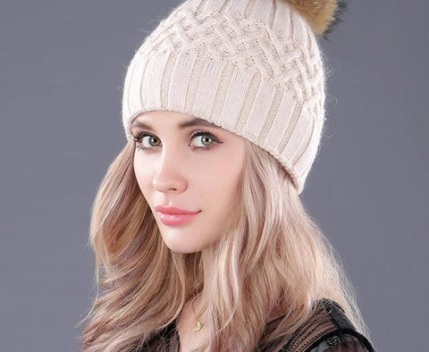 [bopat] double layer soft rabbit  knitted caps natural raccoon fur pompom women's winter hats female headgear skullies beanies