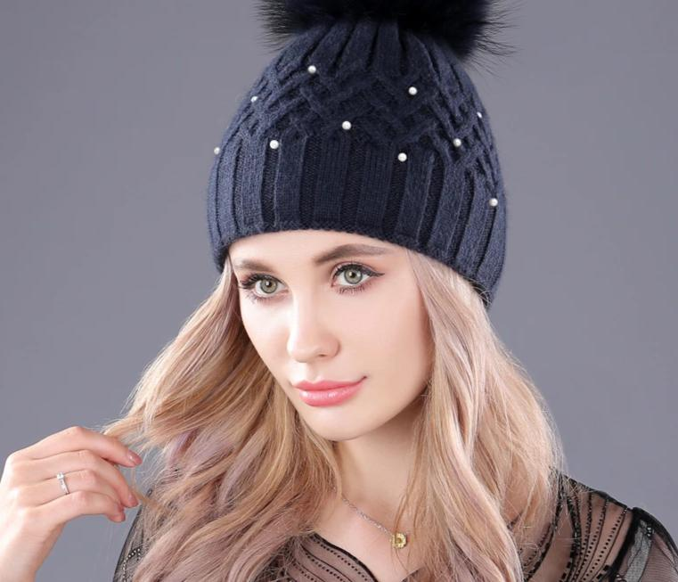 [boapt] Pearl Natural Raccoon Fur Women's Winter Hats Girls Knitted Wool Rabbit Caps Female Headgear Pompon Skullies Beanies-modlily
