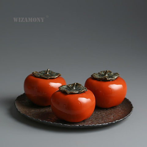 WIZAMONY Chinese Kung Fu Jingdezhen tea caddy tea cans Persimmon canister container for puer Oolong tea storage chests tea D