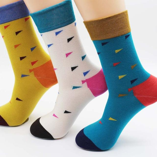 New winter men's colorful cotton stripe socks Brand high quality fashion hip hop skateboard novelty mens dress socks (6 pairs )-modlily