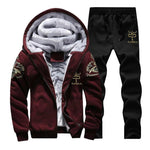 Spring Warm Hooded Sporting Suit Mens Winter Men Set Polerones Hombre Fashion Brand Fleece Lined Thick Tracksuit + Pants Male-modlily