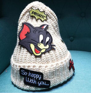 dropshipping New winter beanie knitting hat cap for women skullies cartoon mouse patch gorros bonnet hat-modlily
