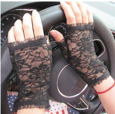 women's vintage sunscreen semi-finger gloves lady's anti-uv lace gloves female driving gloves