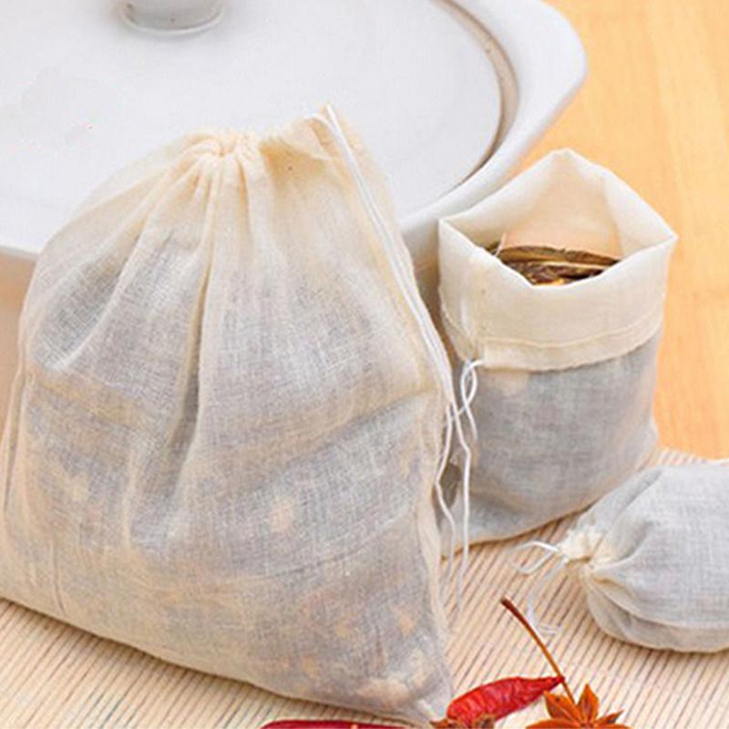10pcs 8*10cm Cotton Drawstring Straining Tea Cooking Separate Spice Filter Bag-modlily
