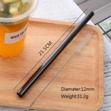 10pcs Metal Straight 12MM Drinking Straw Black Eco-Friendly Stainless Steel With Rainbow Brush Food Grade Bar Accessories-modlily