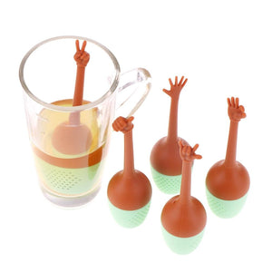 Funny Hand Gestures Tea Infuser Loose Thumb Tea Infuser Filter Tea Coffee Drinkware Leaf Herbal Spice Holder Tea Brewing Tools-modlily