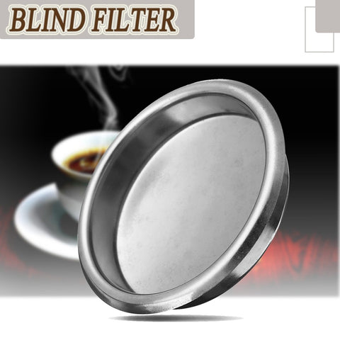 YKPuii 58mm Silver Coffee Filter Blind Filter Espresso Coffee Machine Maker Backflush Back Flush Basket Stainless Steel