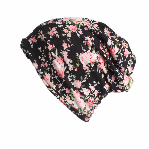 USPOP 2018 Newest multi-functional women print beanies casual Skullies hat female fashion spring cotton hats casual ponytail cap-modlily