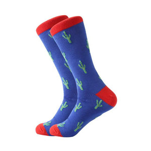 LETSBUY men's socks combed cotton Jacquard cartoon animal dinosaur cactus penguin male business dress crew socks wedding gift so-modlily