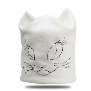 Winter Beanie Hats For Women Diamond Cat Velvet Gorros For Girls Warm Fluff Beanies Cap With Ears Toucas Feminina Inverno bone-modlily