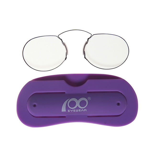 Men Women Nose Clip Glasses Thin Portable Reading Glasses with Phone Stands Glasses Case Mini Pocket Pince Nez Optics-modlily