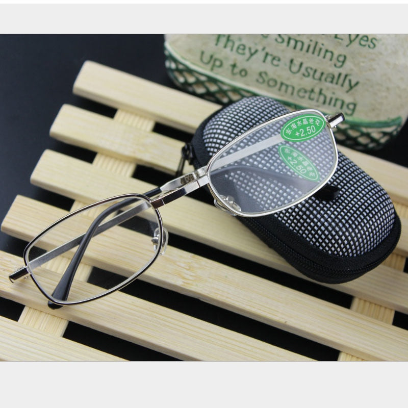 Hot Foldable Clear Men's Women's Reading Glasses Grid Case with Belt Clip Presbyopic +1.0+1.5+2.0+2.5+3.0+3.5 +4.0-modlily