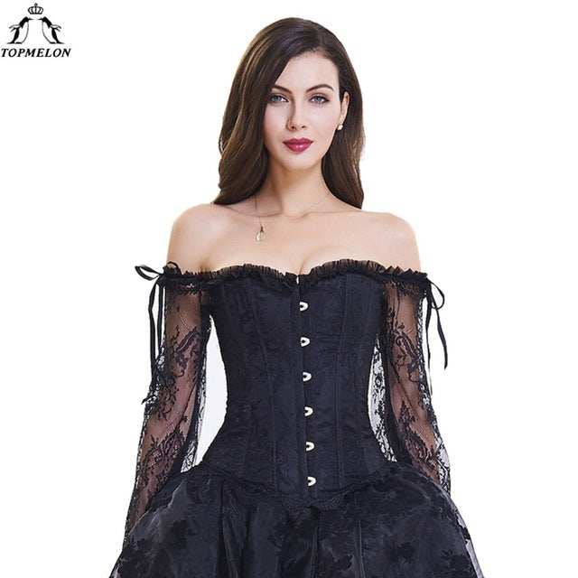c15798852037a TOPMELON Steampunk Corset Bustier Gothic Corselet Corset Women Bustier Long  Sleeve Lace Floral Off Shoulder Sexy
